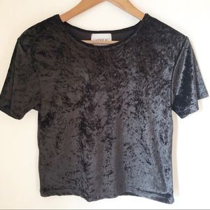 VINTAGE Black Velvet Cropped Shirt Size Medium